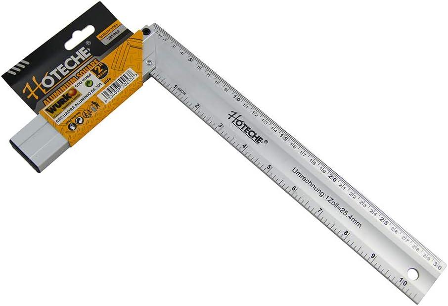 Hoteche 282202 Escuadra carpintero, Aluminio, 30cm