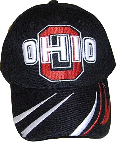 Ohio City & State Bent Brim Adjustable Baseball Cap Hat with Stripes on Bill (Black) ()