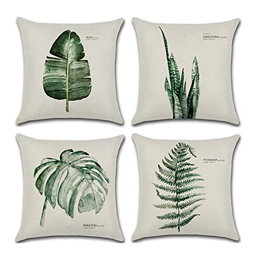 Aremazing Throw Pillow Covers Tropical Green Leaf Plant Dercorative Cotton Linen Throw Pillow Case Cushion Cover Protector 18 x 18 Inches for Home Sofa Couch,Set of 4 (4 Pack Green ()