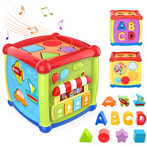 TUMAMA Baby Activity Cube Toys,Baby Early Educational Toys for 12 to 18 Months 1 2 3 Years Old Boys and Girls, Baby Shape Sorter and Piano Musical Toys