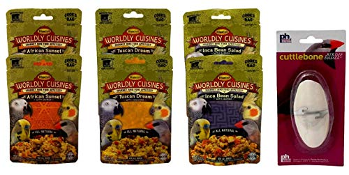 Higgins Worldly Cuisines Gourmet Food Appetizer for All Birds 3 Flavor 6 Pouch with Cuttlebone Bundle, 2 Each: African Sunset, Tuscan Dream, Inca Bean Salad (2 Ounces)