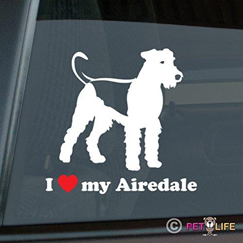 I Love My Airedale Sticker Vinyl Auto Window terrier