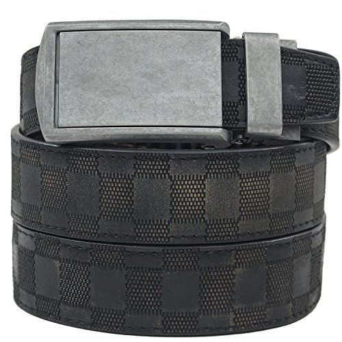 SlideBelts Men's Animal-Friendly Leather Belt without Holes - Zinc Buckle / Distressed (Black Checkered Belt)