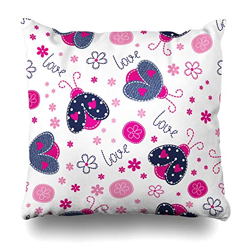 Ahawoso Throw Pillow Cover Patchwork Blue Ladybug Pattern Pink Baby Paint Floral Alphabet Birthday Cute Design Zippered Pillowcase Square Size 18 x 18 Inches Home Decor Cushion ()