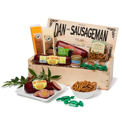 Dan the Sausageman's Mt. Rainier Gourmet Gift Basket -Featuring Dan's Summer Sausage, Wisconsin Cheeses, Dan's Sweet Hot Mustard and Seattle Truffles (Experience Gifts Seattle)