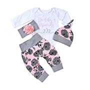 4Pcs Baby Girls Clothes Set Daddy's Princess Romper Tops+Floral Pants+Hat+Flower Headband (White, 0-3 Months)