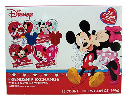 Disney Mickey and Minnie Valentine's Day Cards with Lollipops, 28 Count