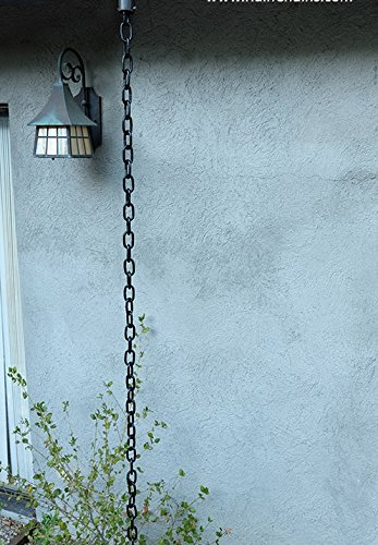 Black Large Aluminum Link Rain Chain with Installation Kit (10 Foot) by Nutshell Stores (Image #2)