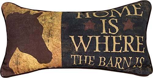 """Manual Woodworkers & Weavers Western Throw Pillow, 17 x 9\"""", Home Is Where The Barn Is"""