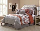 9 Piece Tibet Clay/Taupe 100% Cotton Comforter Set Queen