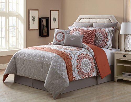 KingLinen 9 Piece Tibet Clay/Taupe 100% Cotton Comforter Set Queen 100% Cotton Comforter Set