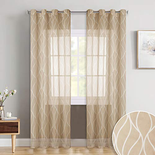 KGORGE Faux Linen Patterned Sheer - Eyelets Top Country Style Design Translucent Printed Voile Drapes with Contemporary Ogee Wave Desin for Guest Room/Villa, Almond Beige, 52