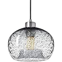 Casamotion Pendant Lighting Handblown Glass Drop ceiling lights, Rustic Hanging Light Clear Seeded Glass with black sand powder, Brushed Nickel Finish