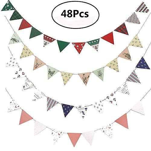 Retro Triangle Pennant Flags,48Pcs Multicolor Paper Bunting Banner Flag Triangle Flag for Party,Wedding,birthday,Holiday Hanging ()