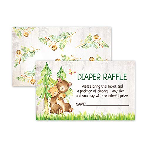 50 Deluxe Bear Woodland Animal Diaper Raffle Tickets for Baby Shower, Diaper Request Insert Card Game, Gender Neutral for Boys, Girls and Twins -
