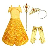 (US) Freebily Girls Deluxe Yellow Belle Dress up Gown Costume With accessories Yellow 7-8