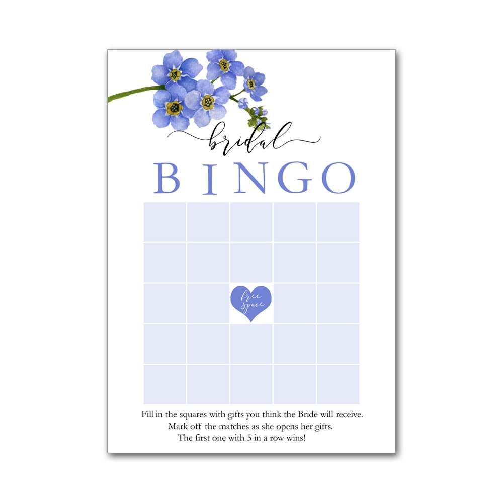 Bingo Game Cards for Bridal Wedding Showers with Watercolor Forget Me Not Flowers Branch BBG8013