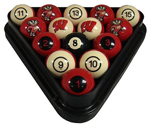 NCAA Wisconsin Badgers Numbered Pool Balls Set - College Football Billiards