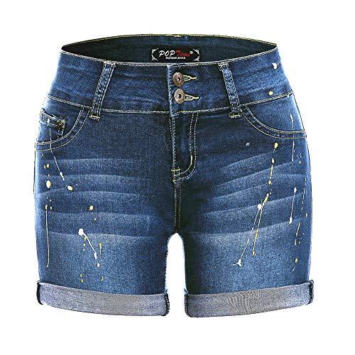 (POPTIME Womens Casual Denim Print Bermuda Shorts Jeans(5, Blue5))