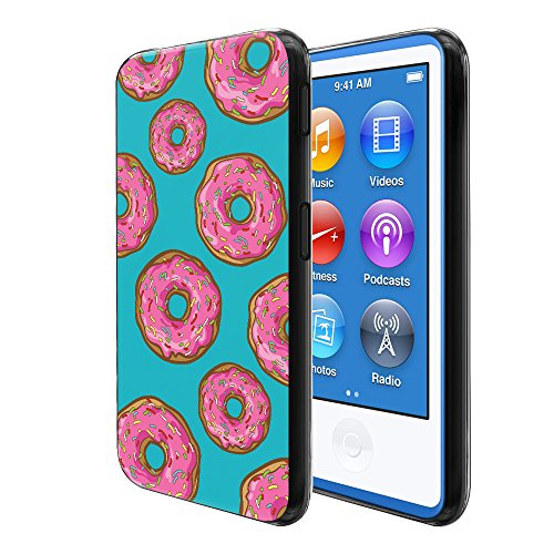 - FINCIBO Case Compatible with Apple iPod Nano 7 (7th Generation), Flexible TPU Black Soft Gel Skin Protector Cover Case for iPod Nano 7 - Pink Glazed Sprinkle Donuts