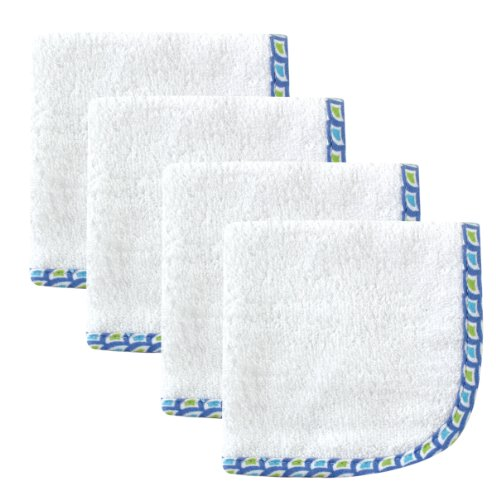 Hudson Baby Boy's Woven Washcloth 4 Pack, White