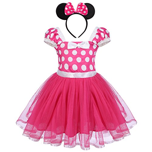 IBTOM CASTLE Toddlers Girls' Polka Dots Christmas Birthday Princess Outfits Party Cosplay Pageant Costume Tutu Dress Up Rose 2-3 Years
