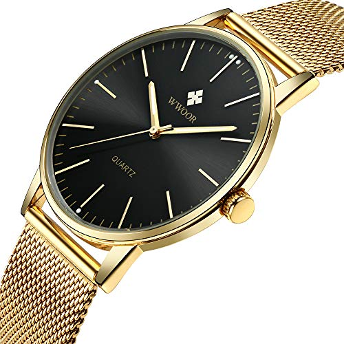 a6dfb5bb64f1 Mens Simple Slim Watch Analog Quartz Waterproof Gold Stainless Steel Mesh  Band Thin Black Dial Casual