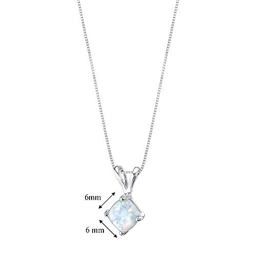 14 Karat White Gold Cushion Cut Created Opal Pendant