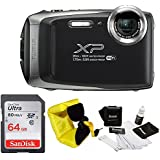 FujiFilm FinePix XP130 Rugged Waterproof WiFi Digital Camera (Dark Silver) + Focus Floating Strap & SanDisk 64GB Card Bundle