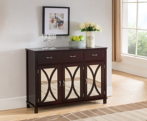 Kings Brand Rutheron Buffet Server Cabinet/Console Table, Mirrored Doors, Espresso (Storage With Entryway Mirror)