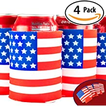 Blue Falcons Patriotic US American Flag Can Cooler Sleeves, 4 Pack. Show Your USA Pride & Keep Drinks Ice Cold For July 4th Summer BBQs. Perfect Party Supplies for Insulating 12oz Pop Tops & Bottles.