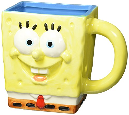 SpongeBob Squarepants SG0295 Nickelodeon 3D Sculpted Ceramic Mug, 20-Ounces, Yellow ()