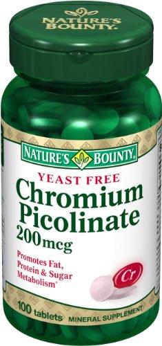 Nature Bounty picolinate de chrome 200mcg, 100 comprimés (lot de 4)