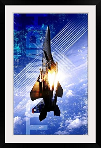 - greatBIGcanvas Military Grunge Poster: Triumph. An F-15E Strike Eagle pops flares by Kate Lillyson Photographic Print with Black Frame, 22