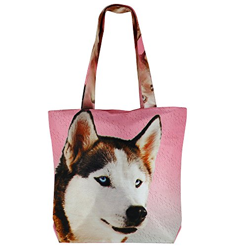 Digital stampato multiuso Moda Shopping Bag - Cane colorato Faux seta Tote Bag con Polysatin Fodera