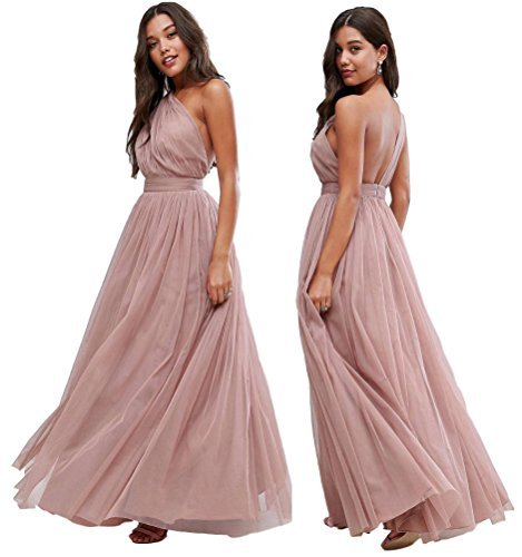 ASOS EX Premium Rosa Oscuro Tul asimétrico Dama de Honor Boda Vestido Largo 65 6-
