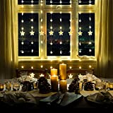 MaLivent Star Curtain Lights, 6.7ftx5ft 144 Stars Lights Remote Window String Lights Plug in Curtain String Lights with 8 Modes Decorative for Xmas, Wedding, Mermaid, Trees,Birthday(Warm White)