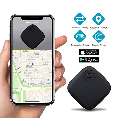 Key Finder Smart Tracker - GLCON Key Finder Locator for Phone Wallet Backpack Luggage - Bluetooth GPS Tracker Device with App for iPhone Android - Replaceable Battery Anti-Lost Item Finder (Black)