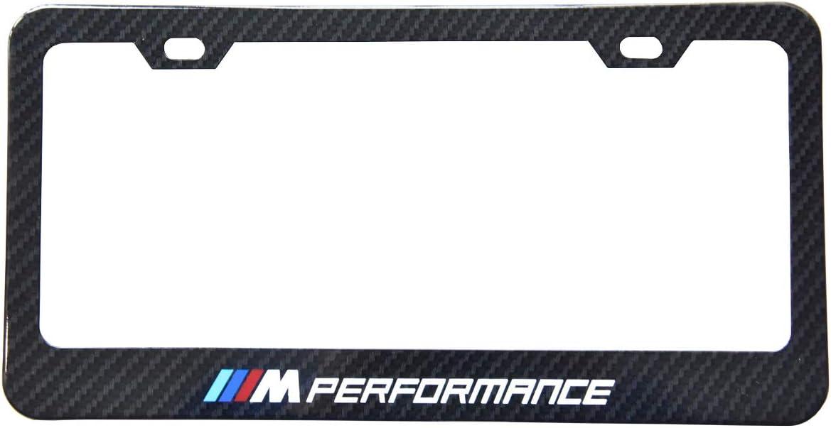 Sparkle-um 2pcs M Logo License Plate Aluminium Alloy Frame with Carbon Fiber Textured Glossy Finish Logo for BMW(M Performance)