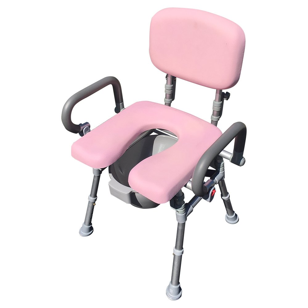 UltraCommode™ Voted #1 Most Comfortable Bedside Commode Chair- Soft, Warm, Padded and Foldable. XL Seat with 100% Open Front, Padded Pivoting Armrests, Adjustable Height. FREE Commode Pail. (Pink)