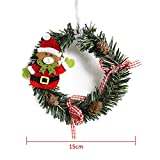 Bornbayb Artificial Christmas Wreath Holiday Door Decoration with Pine Cones and Red Ornaments Diameter 15cm/5.9''
