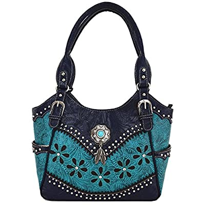 Tooled Leather Laser Cut Concealed Carry Purse Feather Country Western Handbags Shoulder Bags Wallet Set