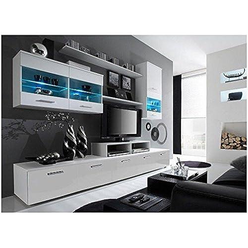 paris design wall unit modern center unique modern design with led lights high storage capacity living room furniture