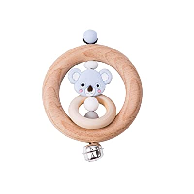 Baby Teether Rattle Toy Safe and Natural Wooden Teether Ring with Shaking Bell BPA Free Silicone Chewing Gray Koala Teether Sensory Baby Gym Toy Neutral: Toys & Games