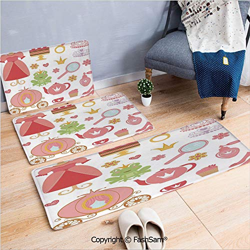 (3 Piece Fashion Flannel Door Mat Carpet Princess Tiara Tea Party Mirror Teapot Tea Party Frog Crown Fairy Cupcake Girls Decorative for Door Rugs Living Room(W15.7xL23.6 by W19.6xL31.5 by W19.6xL59))