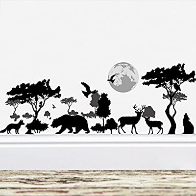 Amaonm Removable Black Tree Animals Wall Sticker Home Wall art Decor Kids Room Wall Decals Baby Girls Murals Bedroom Room Decoration Stickers Creative animal forest Wall Corner Decor Nursery Decal