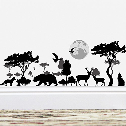 - Amaonm Removable Black Tree Animals Wall Sticker Home Wall Art Decor Kids Room Wall Decals Baby Girls Murals Bedroom Room Decoration Stickers Creative Animal Forest Wall Corner Decor Nursery Decal