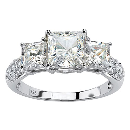 Platinum over Sterling Silver Princess Cut Created White Sapphire 3-Stone Ring Size 8