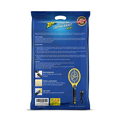 ZAP IT! Bug Zapper - Rechargeable Mosquito, Fly Killer and Bug Zapper Racket - 4,000 Volt - USB Charging, Super-Bright LED Light to Zap in The Dark - Safe to Touch (Mini) by ZAP IT! (Image #5)