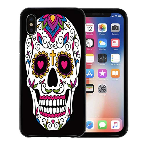 Semtomn Phone Case for Apple iPhone Xs case,Red Day Mexican Sugar Skull Yellow Dead Floral Halloween Cartoon for iPhone X Case,Rubber Border Protective Case,Black -